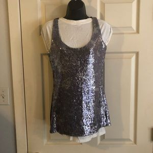 Black and silver sequined tank